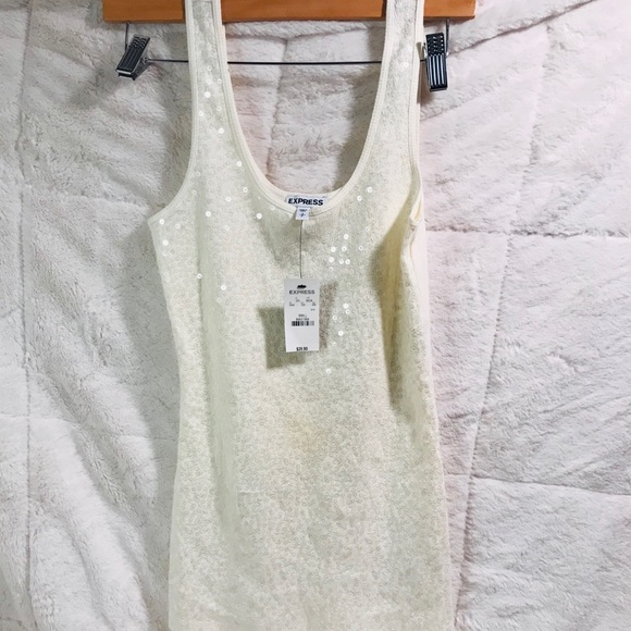 Express Tops - Women's Express Cream Sequin Tank Size Small
